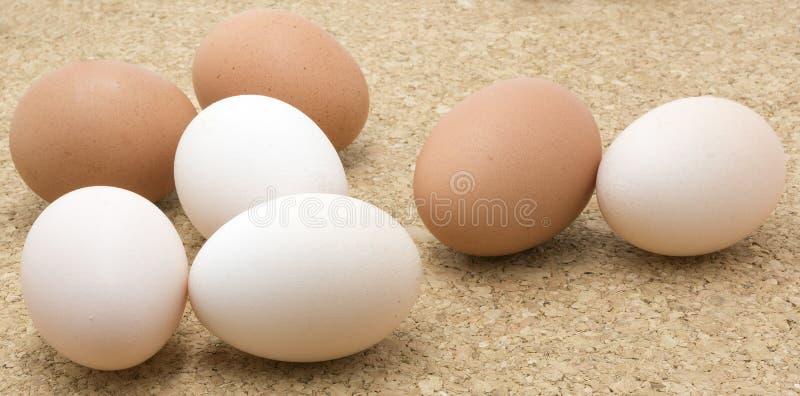 Brown e ovos brancos da galinha imagens de stock royalty free
