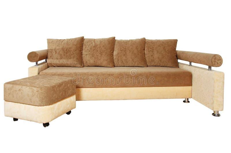 Brown e sofà beige isolati su bianco fotografia stock libera da diritti