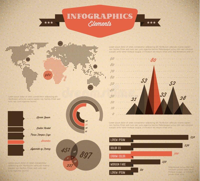 Brown e vetor vermelho retros/vintage Infographic s ilustração do vetor
