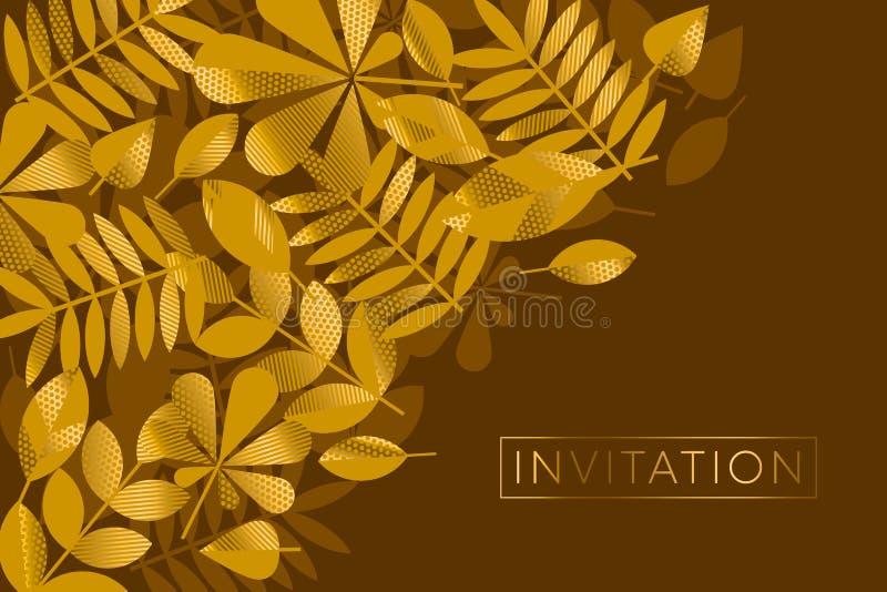 Brown ed illustrazione di vettore del modello delle foglie dell'oro illustrazione vettoriale