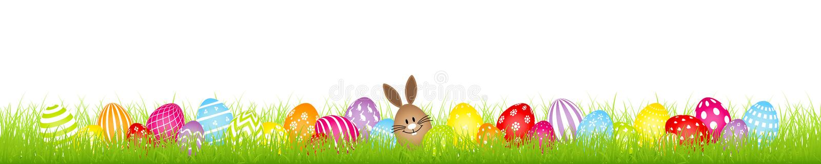 Brown Egg Bunny And Twenty Eight Colorful Easter Eggs Meadow Banner royalty free illustration