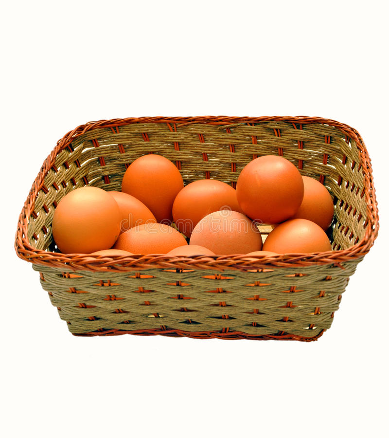 Brown Eggs In A Basket Stock Photo
