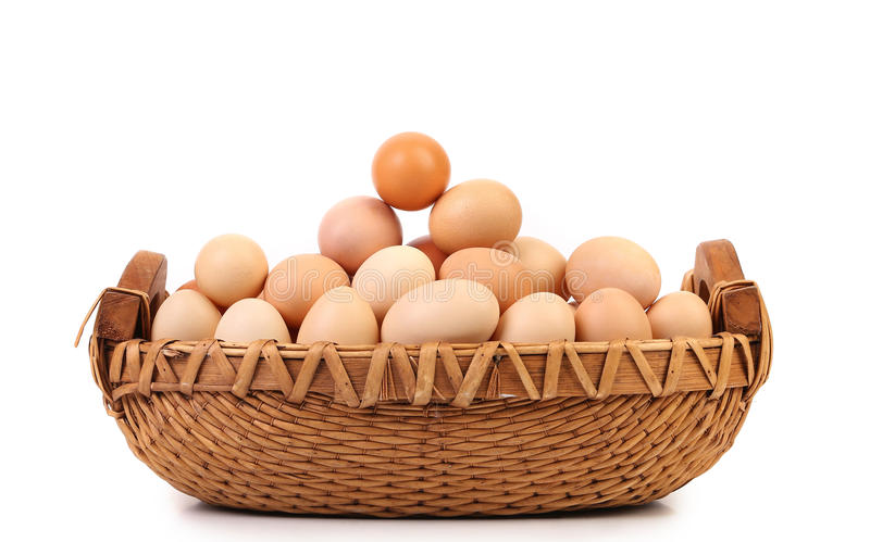 Brown eggs in the basket on white stock image