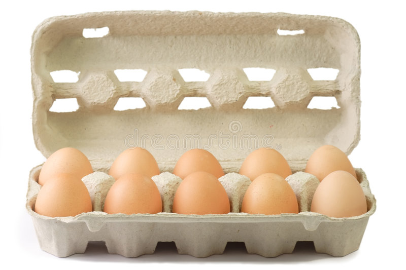 Brown Eggs in a Cardboard stock image