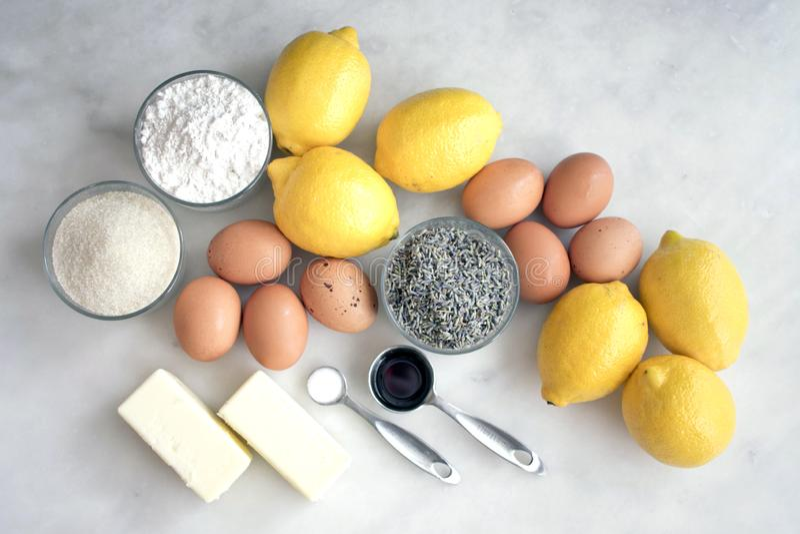 Lemon-Lavender Dessert Bar Ingredients on a Marble Countertop stock photo