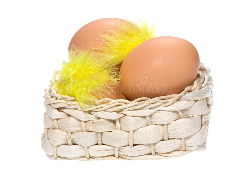 Download Brown Eggs With Feathers In Basket Stock Image - Image: 12656043