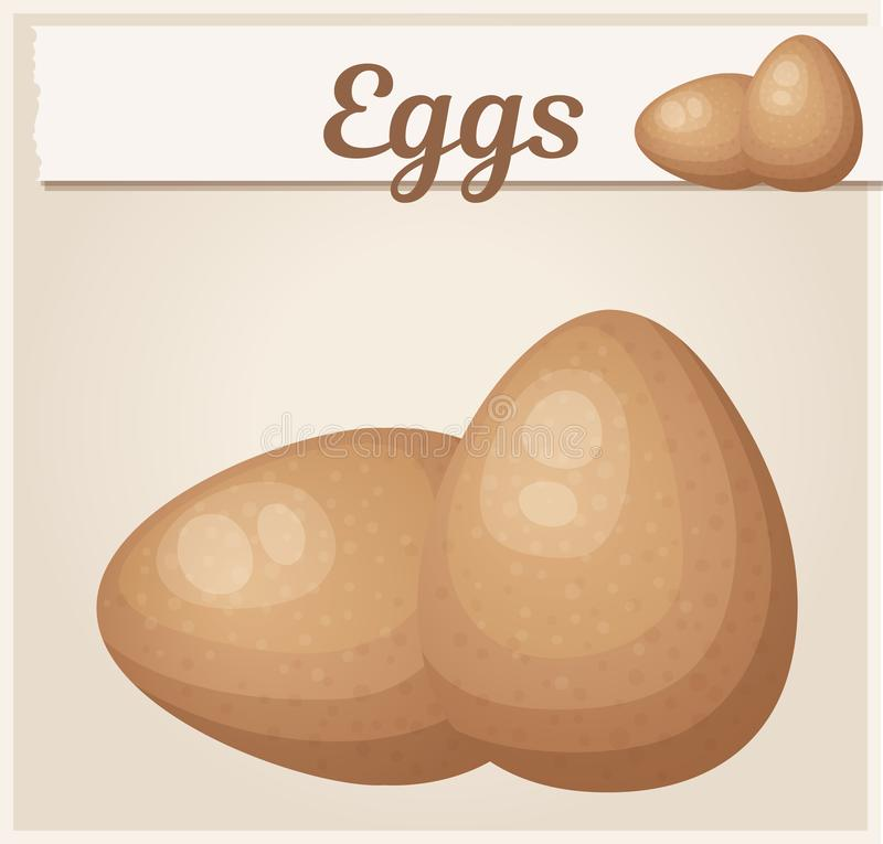 Brown eggs icon. Fresh chicken eggs cartoon vector illustration stock illustration