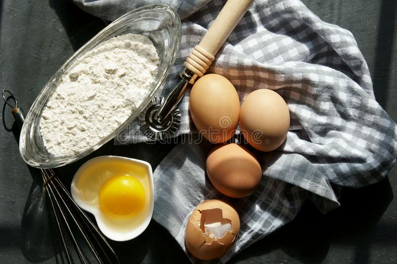 Brown eggs on a napkin. royalty free stock photos