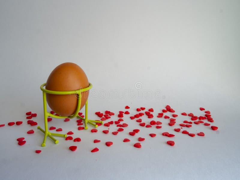 Brown-Ei der hellen Farbe in einer Unterstützung bereitet sich für den Feiertag Ostern auf einem weißen Hintergrund vor, der mit  lizenzfreie stockfotos