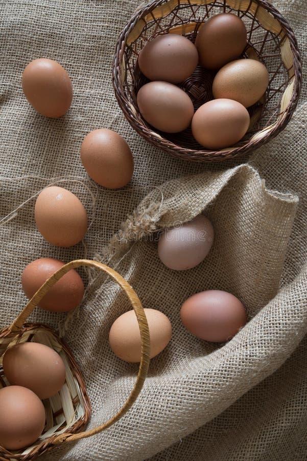 Brown-Eier legten in stricken Korb auf einer Au?entemperatur stockbilder