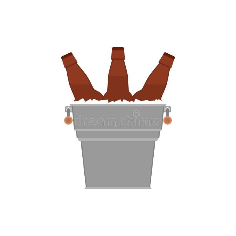 Brown embotella la cerveza oscura en el cubo de hielo en el fondo blanco libre illustration
