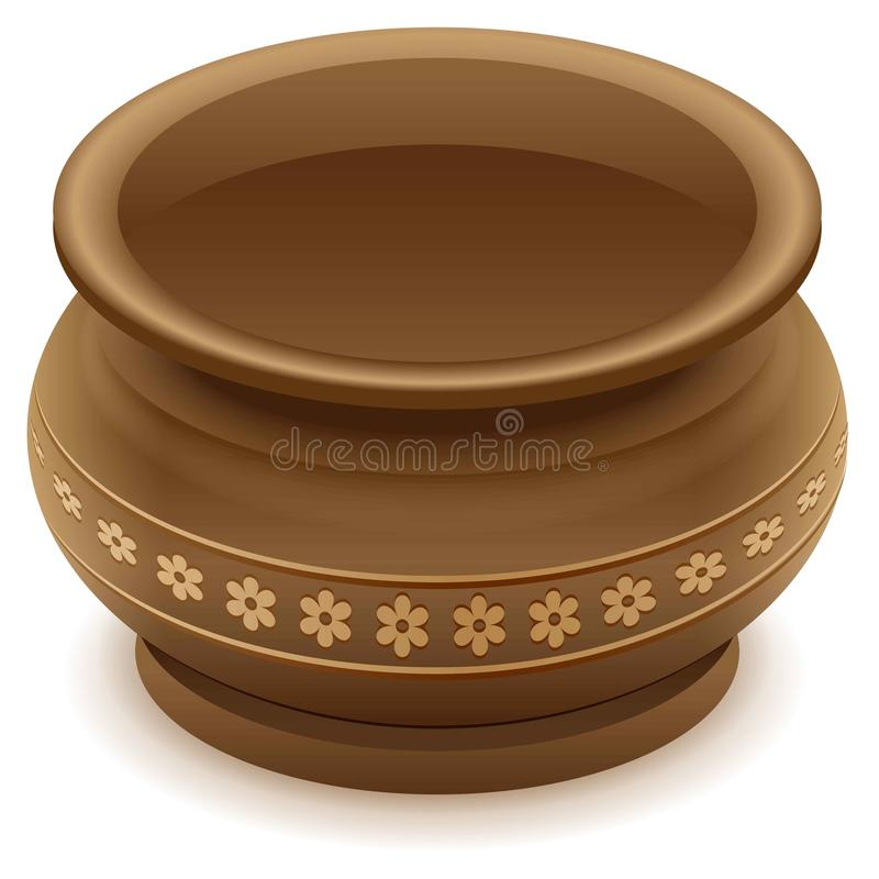 Brown empty clay ceramic pot. On white vector illustration royalty free illustration