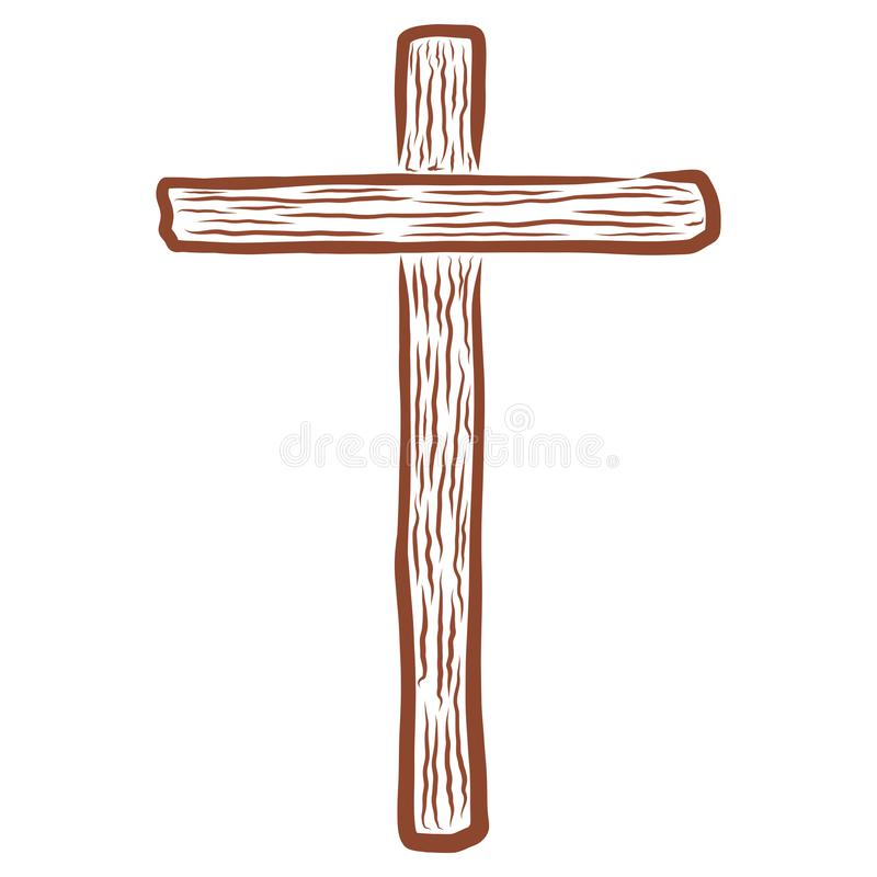 Brown empty wooden Christian cross abstract pattern.  vector illustration