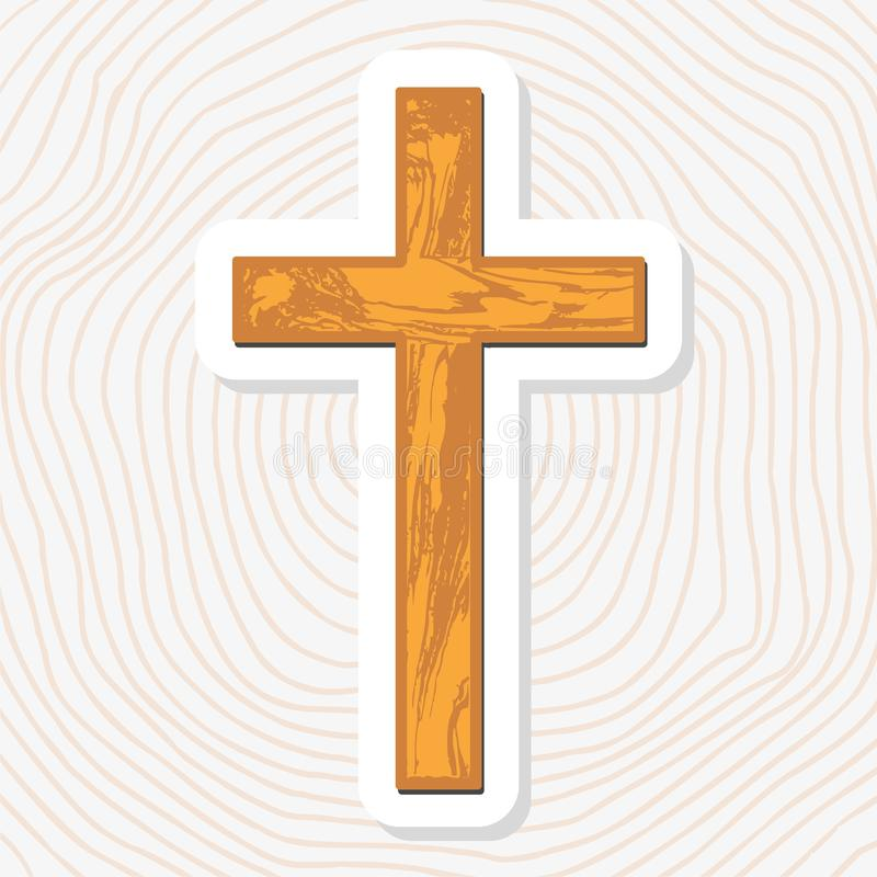 Brown empty wooden Christian cross abstract pattern. Paper sticker vector illustration