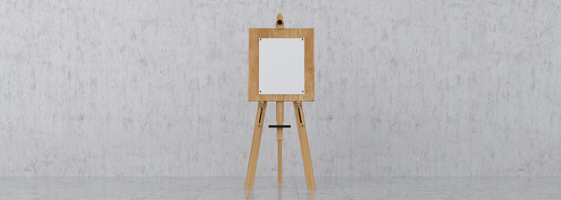 Brown en bois Sienna Easel avec la moquerie vers le haut de la toile vide vide Isolat photographie stock