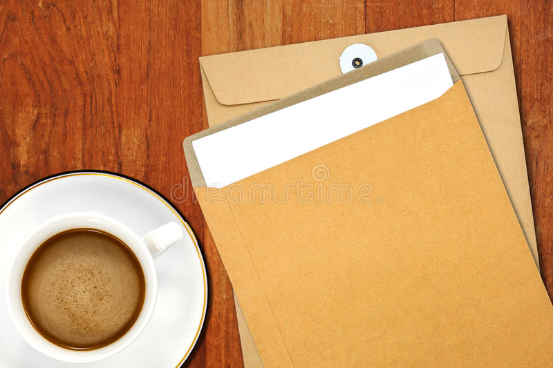 Download Brown Envelope Document And A White Coffee Cup Stock Image - Image of office, airmail: 39506293