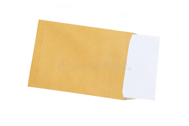 Brown envelope and paper note isolate on white background stock photos