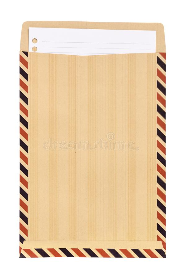 Brown envelope with white note paper stock photography