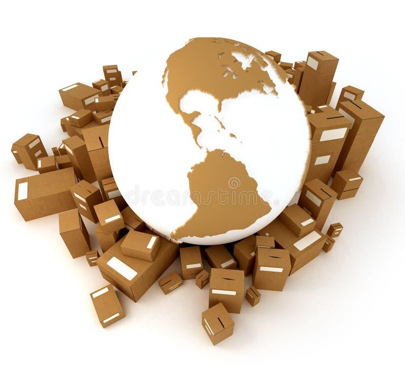 Brown-Erdekugel verpackt Amerika vektor abbildung