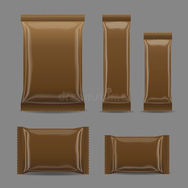 Brown esconde el paquete del bocado de la comida de la hoja para los microprocesadores, especias, café, sal stock de ilustración
