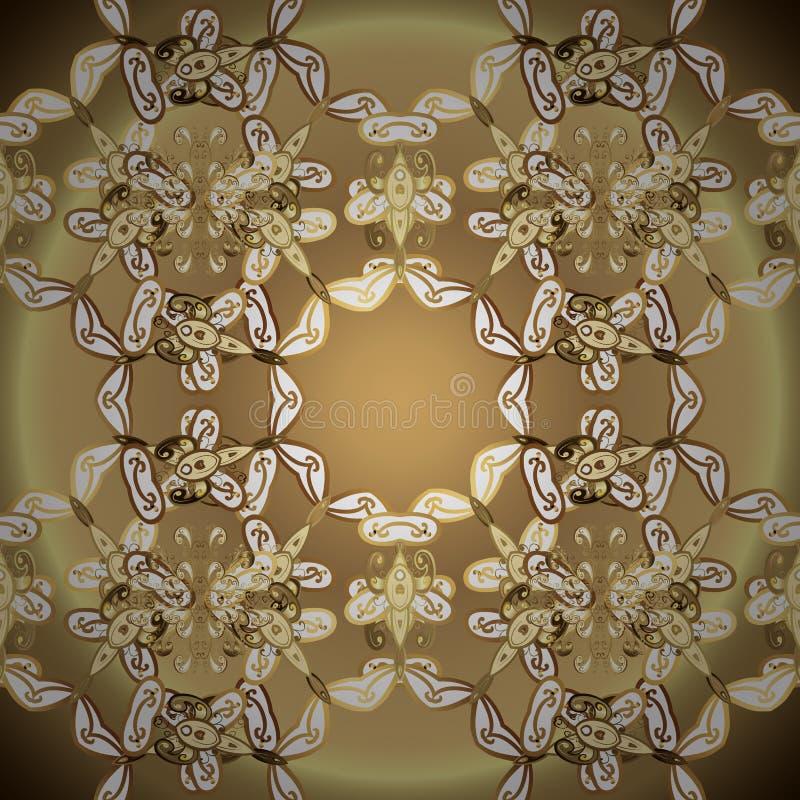Brown et couleurs beiges avec les éléments d'or illustration de vecteur