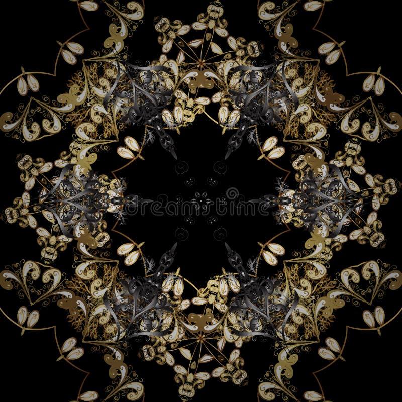 Brown et couleurs noires avec les éléments d'or illustration stock