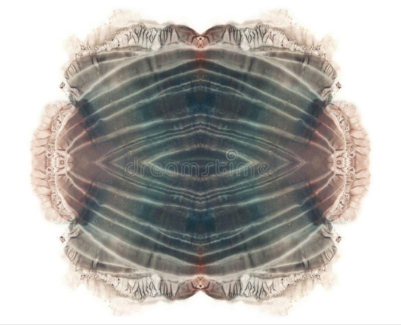 Brown et tache grise d'aquarelle Peinture grunge symétrique abstraite blanc photos stock