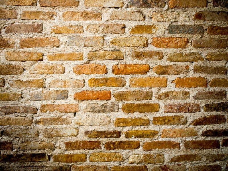 Brown et vieille texture orange de mur de briques Fond grunge photo stock