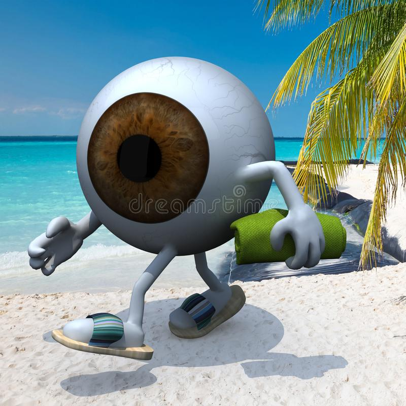 Brown eye ball on the beach. Brown eye ball with arms, legs, sandals and towel on the beach, 3d illustration royalty free illustration