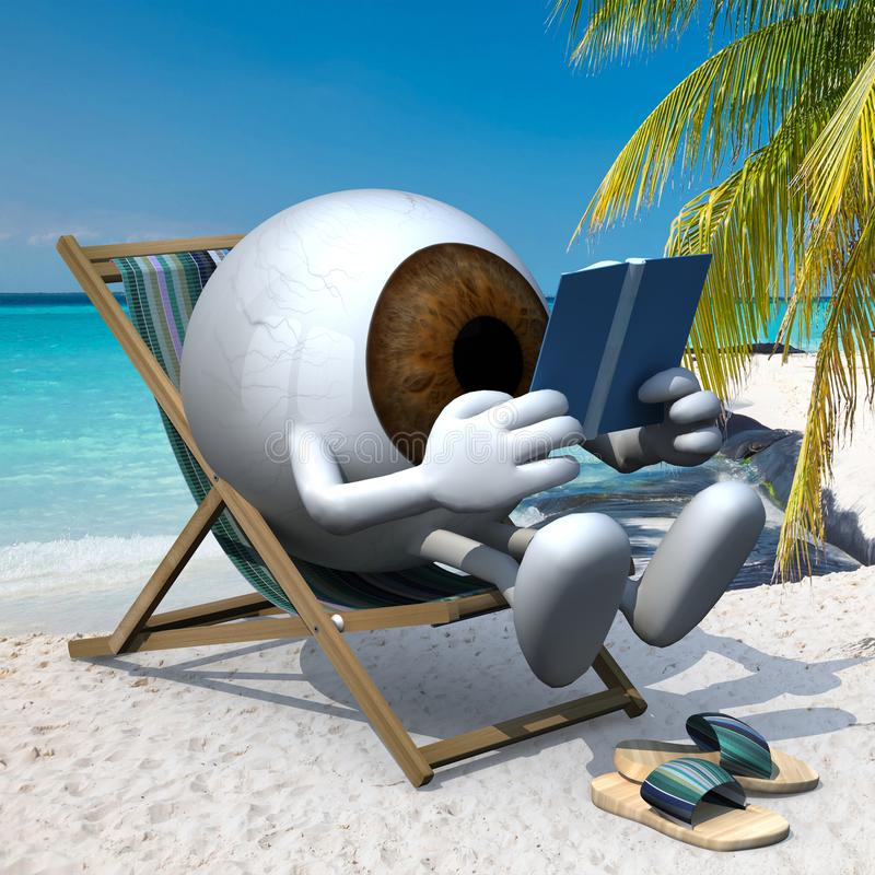 Brown eye ball on the beach. Brown eye ball with arms, legs and sandals on the beach chair reading a book, 3d illustration royalty free illustration