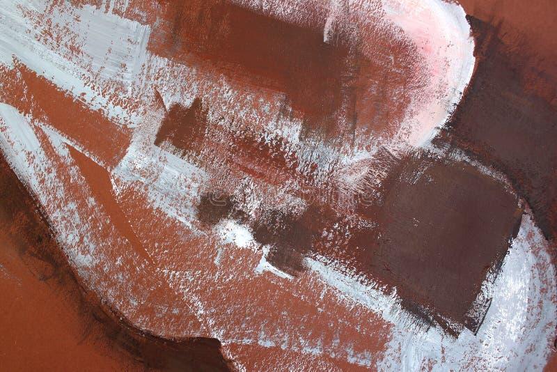 Brown farba na kanwie sztuki abstrakcjonistycznej tło Kolor tekstura Czerep grafika obraz brezentowy abstrakcyjne zdjęcie royalty free