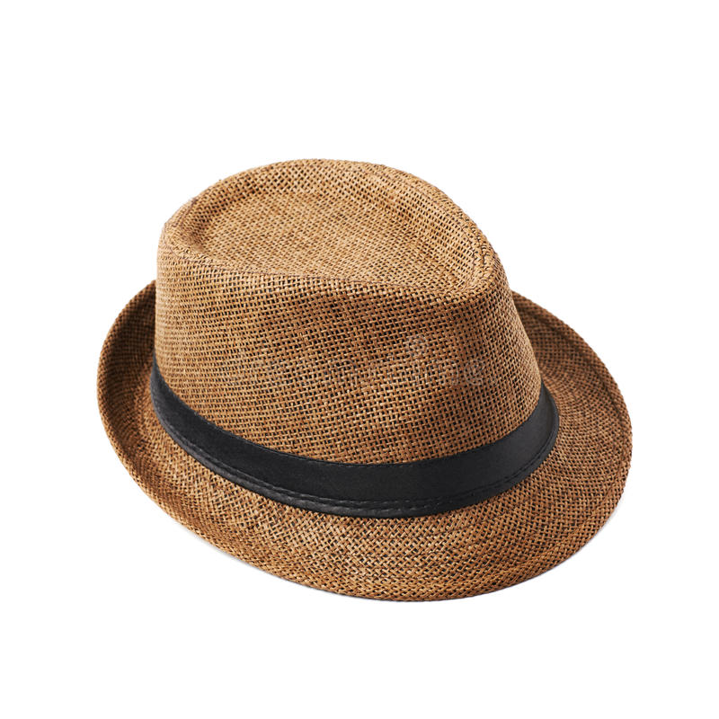 Brown fedora hat isolated stock images