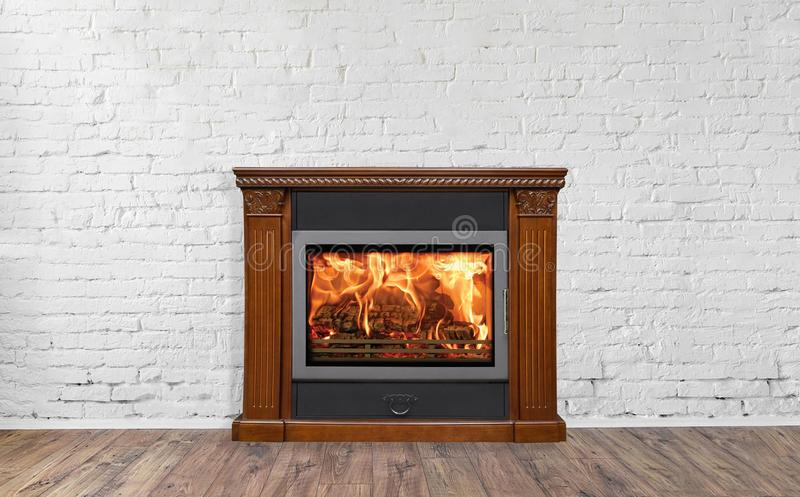 Brown Fireplace in bright empty living room interior of house stock photos