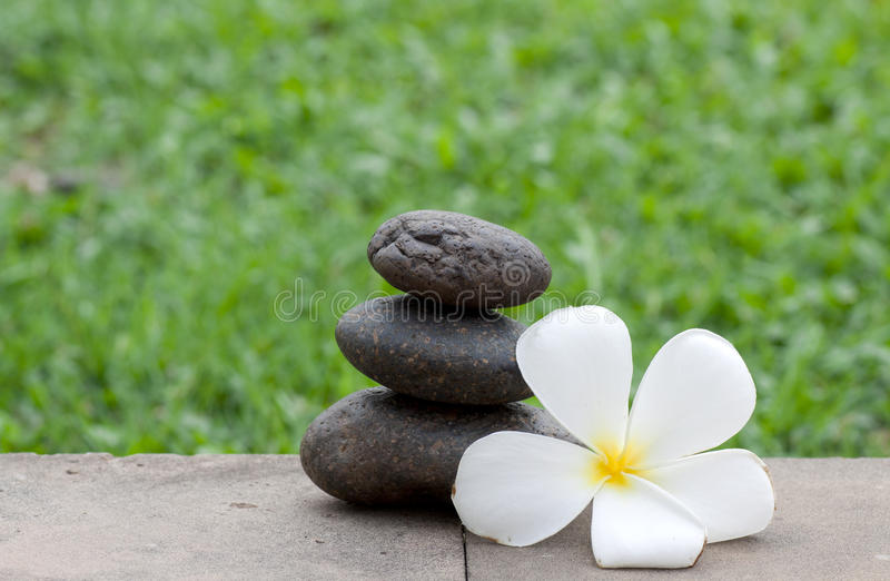 Brown Flat Stones In Blance In The Garden Stock Image