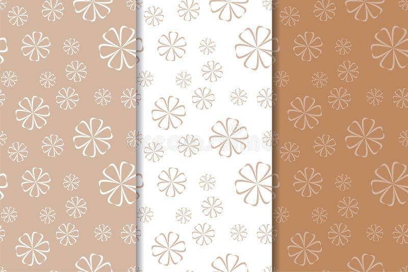 Brown floral backgrounds. Set of seamless patterns vector illustration