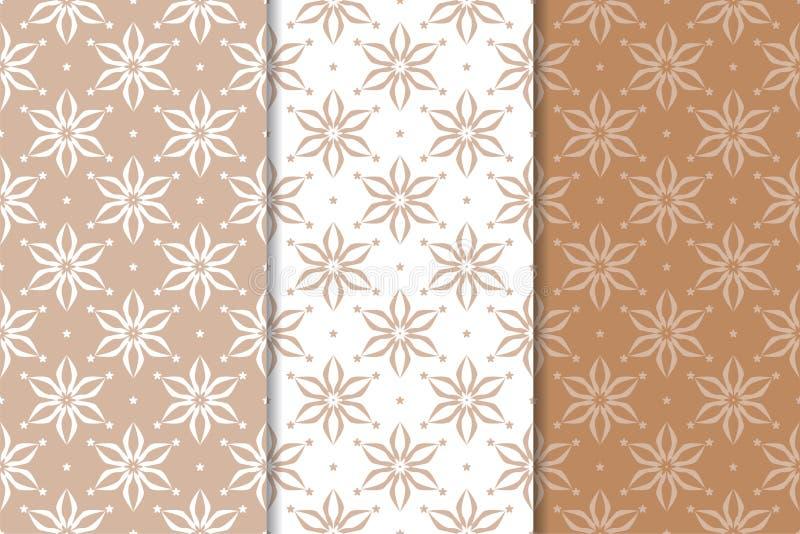 Brown floral backgrounds. Set of seamless patterns stock illustration