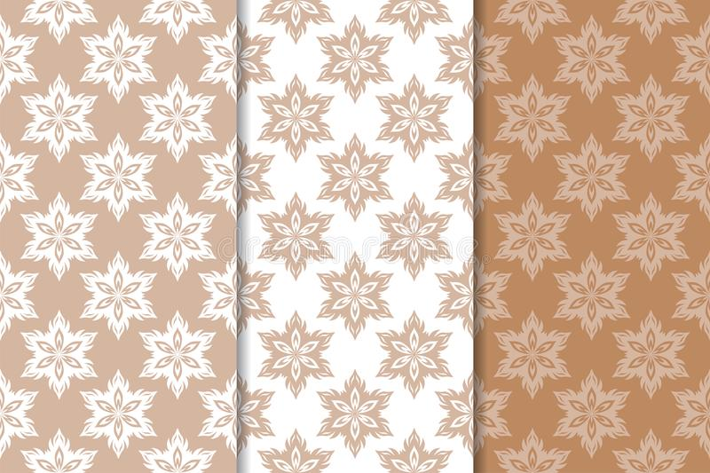 Brown floral backgrounds. Set of seamless patterns royalty free illustration