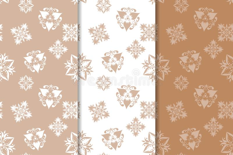 Brown floral backgrounds. Set of seamless patterns stock illustration