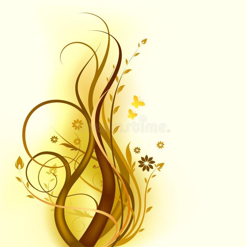 Brown_floral_design διανυσματική απεικόνιση