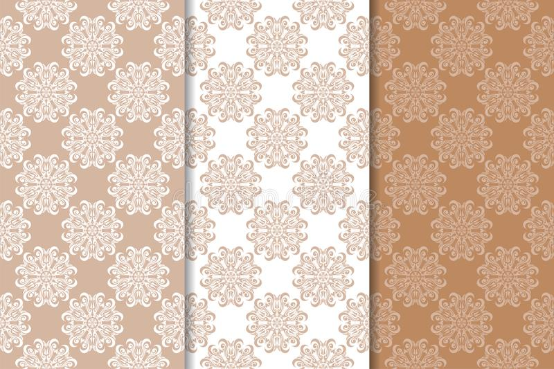 Brown floral ornaments. Set of seamless backgrounds stock illustration