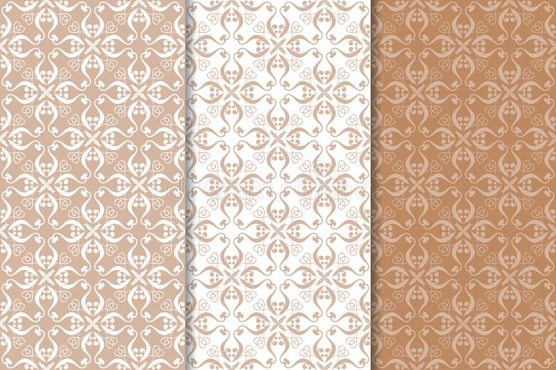 Brown floral ornaments. Set of seamless backgrounds vector illustration