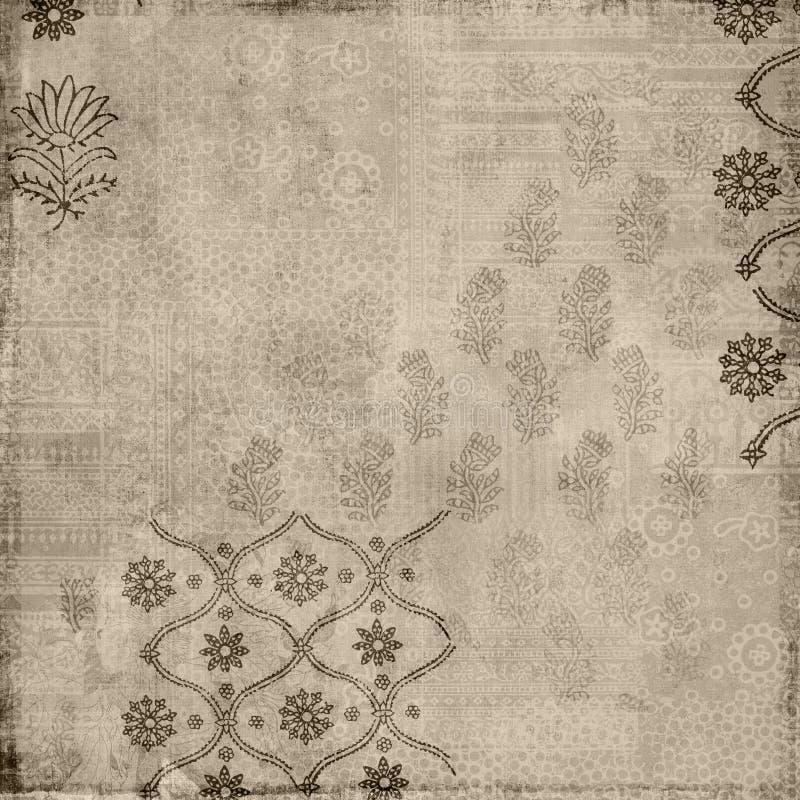Download Brown Floral Vintage Style Batik Stamp Background Stock Illustration - Image: 14191795