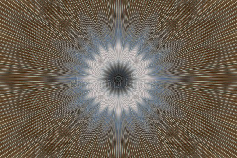 Brown flower pattern floral kaleidoscope. abstract graphics royalty free illustration