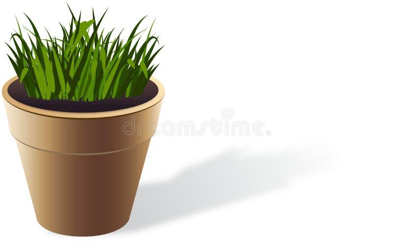 Brown flowerpot z r trawą ilustracji