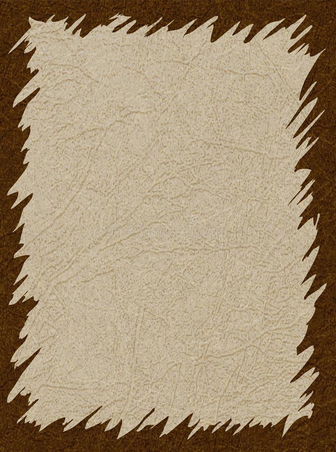 Brown frame on beige background with scratched skin texture, grunge. vector illustration