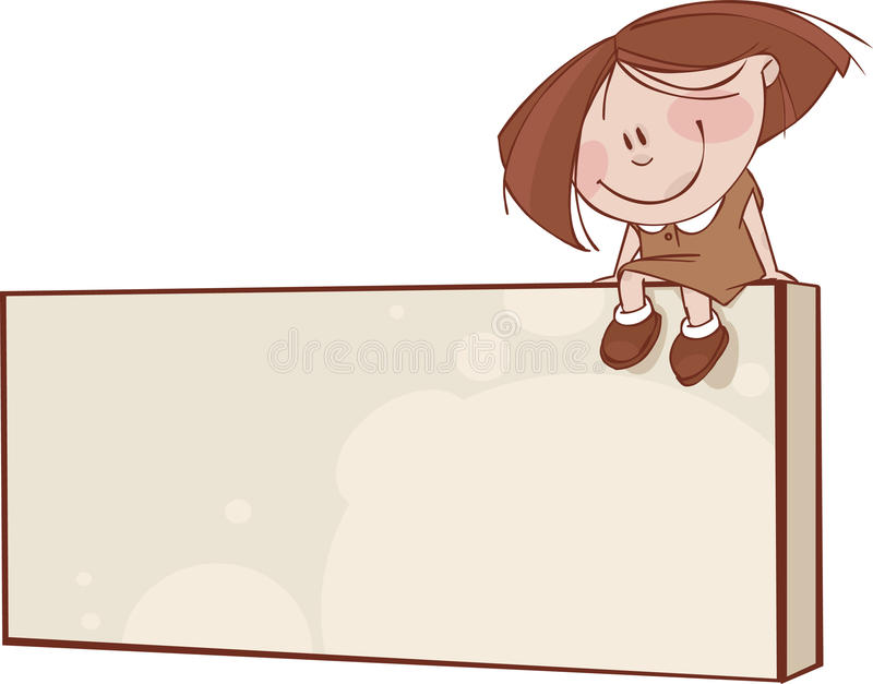 Brown framework. With funny kids and space for text vector illustration