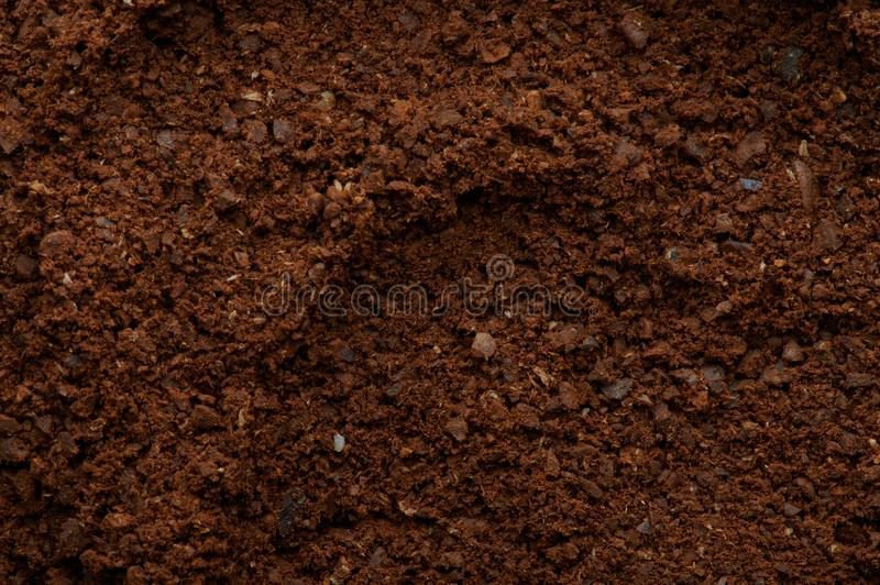 Brown fresh milled coffee stock photography
