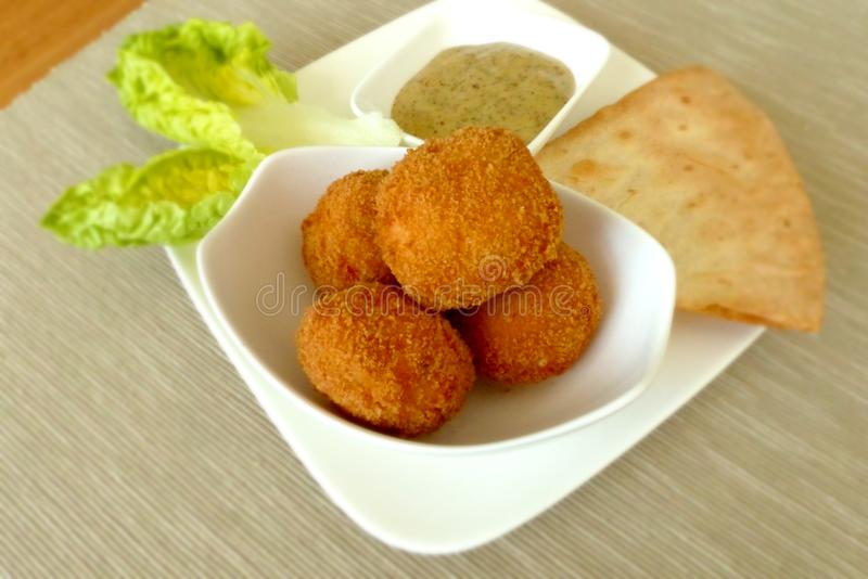 Brown Fried Dish on White Bowl stock photography