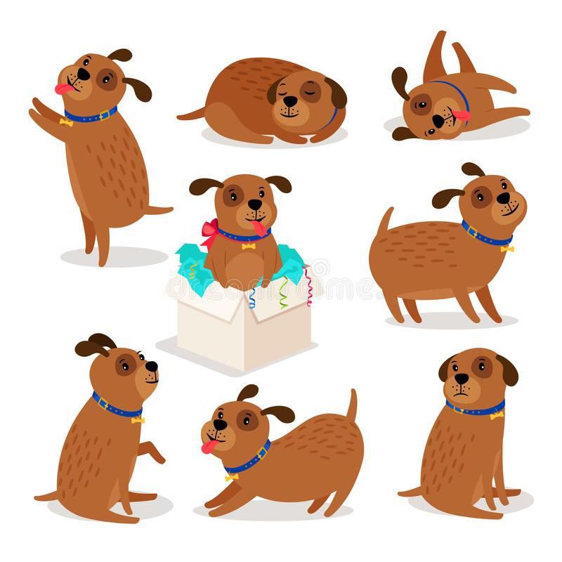 Brown funny cartoon puppies vector illustration