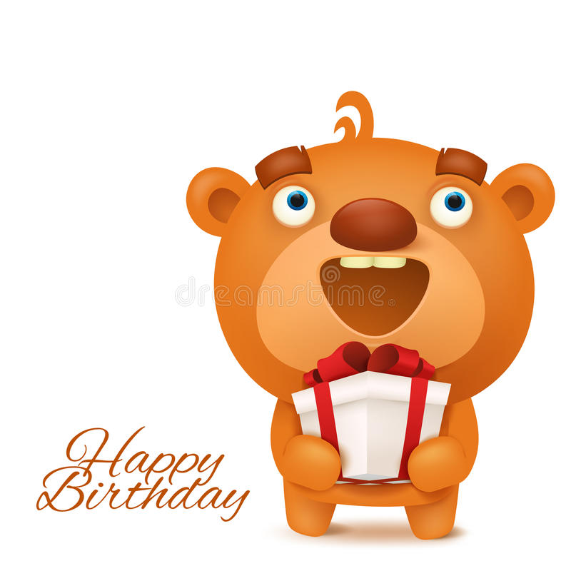 Brown Funny Emoji Teddy Bear With Gift Box Stock Illustration ...